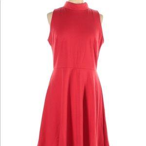 Sharagano Red Sleeveless A-line Mock Neck Dress 12